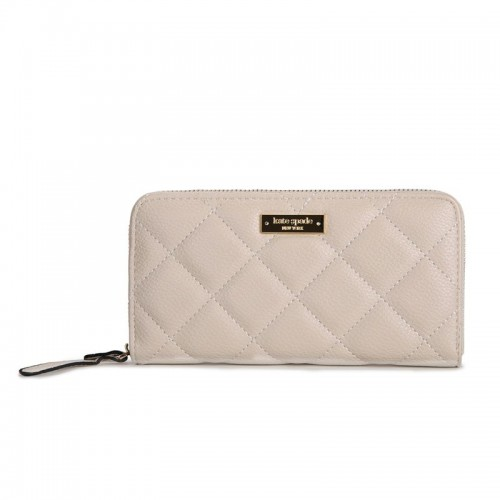Kate Spade Lacey Gold Coast Quilted Leather Clutch Wallet Cream