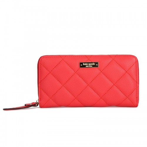 Kate Spade Lacey Gold Coast Quilted Leather Clutch Wallet Red